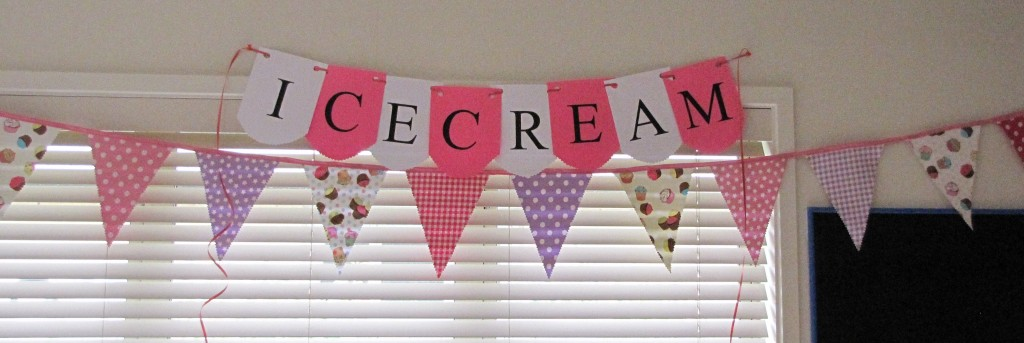 A handmade fabric bunting added atmosphere